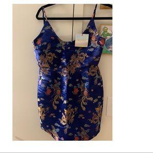 Mini Satin Blue Dress